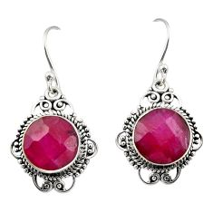 9.18cts natural red ruby 925 sterling silver dangle earrings jewelry r30948