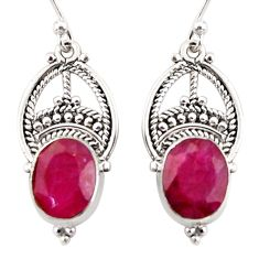 8.26cts natural red ruby 925 sterling silver dangle earrings jewelry r31039