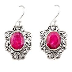 8.44cts natural red ruby 925 sterling silver dangle earrings jewelry r31041