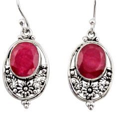 7.64cts natural red ruby 925 sterling silver dangle earrings jewelry r31077