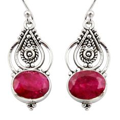 7.48cts natural red ruby 925 sterling silver dangle earrings jewelry r31094