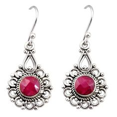 2.78cts natural red ruby 925 sterling silver dangle earrings jewelry r31239