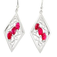 6.26cts natural red ruby 925 sterling silver dangle earrings jewelry r36678