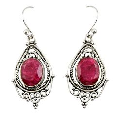 6.70cts natural red ruby 925 sterling silver dangle earrings jewelry r42309