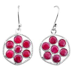 7.52cts natural red ruby 925 sterling silver dangle earrings jewelry t12468