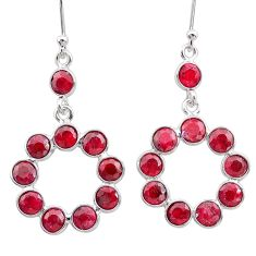 8.73cts natural red ruby 925 sterling silver dangle earrings jewelry t12507