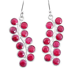 10.62cts natural red ruby 925 sterling silver dangle earrings jewelry t4626