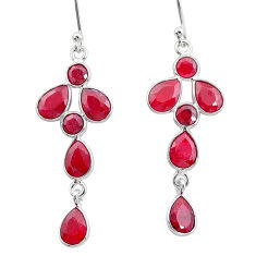 9.68cts natural red ruby 925 sterling silver dangle earrings jewelry t4768