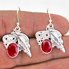 6.32cts natural red ruby 925 sterling silver dangle seashell earrings t47014