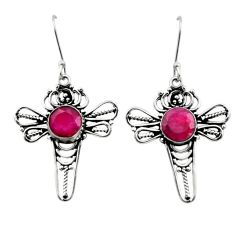6.83cts natural red ruby 925 sterling silver dragonfly earrings jewelry d40715