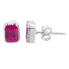 2.79cts natural red ruby 925 sterling silver earrings jewelry t7458