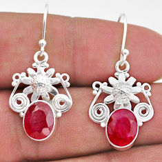 6.33cts natural red ruby 925 sterling silver flower handmade earrings t47019
