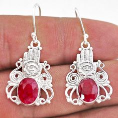 6.58cts natural red ruby 925 sterling silver hand of god hamsa earrings t47005