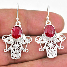 5.87cts natural red ruby 925 sterling silver hand of god hamsa earrings t47008