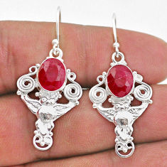 6.29cts natural red ruby 925 sterling silver owl earrings jewelry t47016