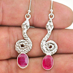 4.25cts natural red ruby 925 sterling silver snake earrings jewelry t40235