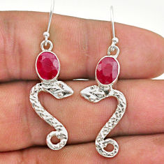 4.06cts natural red ruby 925 sterling silver snake earrings jewelry t40279