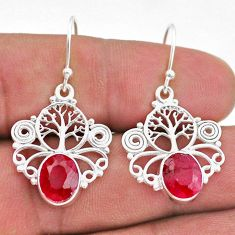 5.94cts natural red ruby 925 sterling silver tree of life earrings t47002