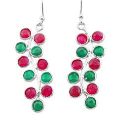 9.65cts natural red ruby emerald 925 sterling silver chandelier earrings t38893