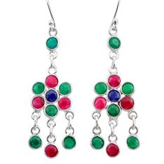 11.70cts natural red ruby emerald sapphire silver chandelier earrings t38880
