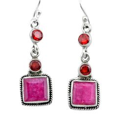 9.16cts natural red ruby garnet 925 sterling silver dangle earrings t29902