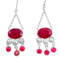 22.46cts natural red ruby pearl 925 sterling silver dangle earrings d45742
