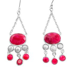 20.88cts natural red ruby pearl 925 sterling silver dangle earrings d45753