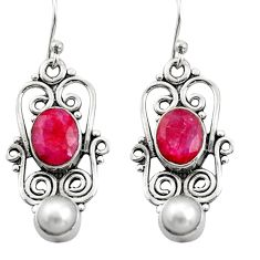 5.75cts natural red ruby pearl 925 sterling silver dangle earrings r21698