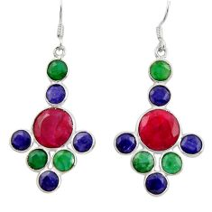 17.53cts natural red ruby sapphire emerald 925 silver chandelier earrings d39825