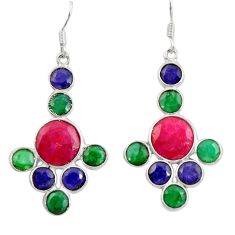 18.14cts natural red ruby sapphire emerald 925 silver chandelier earrings d39829