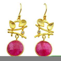 12.07cts natural red ruby topaz 925 silver 14k gold dangle earrings t44164