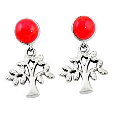 Natural red sponge coral 925 silver tree of life earrings c11626
