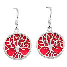 11.20cts natural red sponge coral 925 silver tree of life earrings c26620