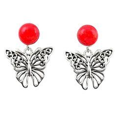 Natural red sponge coral 925 sterling silver butterfly earrings c11624