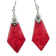 6.33cts natural red sponge coral 925 sterling silver earrings jewelry c26362