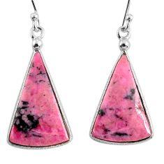 17.23cts natural rhodonite in black manganese 925 silver dangle earrings r75654