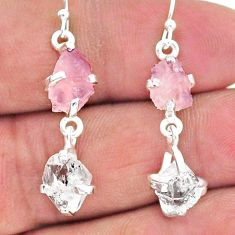 9.96cts natural rose quartz raw herkimer diamond silver dangle earrings t15255