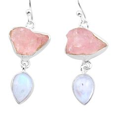 14.08cts natural rose quartz raw moonstone 925 silver dangle earrings t38232