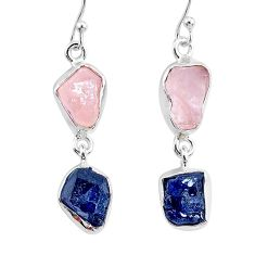 13.55cts natural rose quartz raw sapphire rough 925 silver earrings r93704