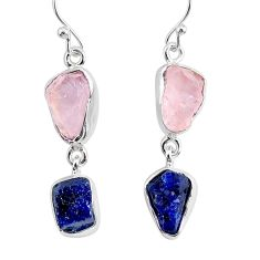 12.63cts natural rose quartz raw sapphire rough 925 silver earrings r93706
