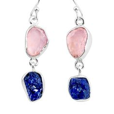 12.58cts natural rose quartz raw sapphire rough 925 silver earrings r93708
