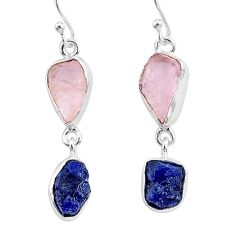 13.04cts natural rose quartz raw sapphire rough silver dangle earrings r93703