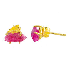 4.56cts natural ruby raw 925 sterling silver 14k gold stud earrings r70496