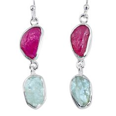 15.39cts natural ruby rough aquamarine rough 925 silver dangle earrings r55413