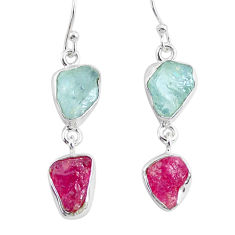12.12cts natural ruby raw aquamarine rough 925 silver dangle earrings r93669