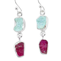 10.79cts natural ruby raw aquamarine rough 925 silver dangle earrings r93670