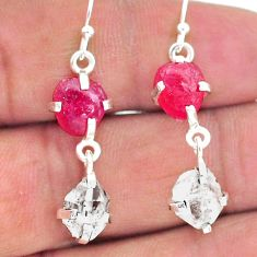 11.50cts natural ruby raw herkimer diamond 925 silver dangle earrings t15241