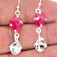 13.66cts natural ruby raw herkimer diamond 925 silver dangle earrings t15242