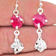 12.66cts natural ruby raw herkimer diamond 925 silver dangle earrings t15243