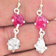12.07cts natural ruby raw herkimer diamond 925 silver dangle earrings t15245
